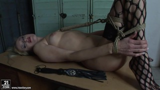 Mandy Bright tied a hot chick in net stockings Preview Image
