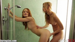 DaringSex Readhead and Blonde Teen Lesbian Shower Sex Preview Image