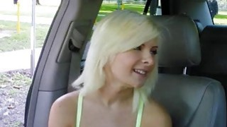 Cute blonde teen girl Alessandra Noir drilled in the car Preview Image