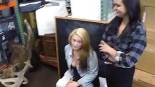 Lesbian couple 3some sex at the pawnshop to earn extra money Preview Image