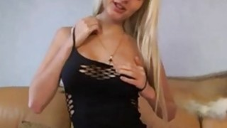 Busty blondie in sexy black lingerie teasing on cam Preview Image