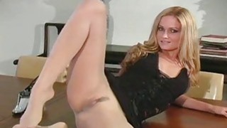 Tiny milk cans chick makes show in black pantyhose Preview Image