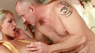 Hot young blonde fucking older man in the kitchen Preview Image