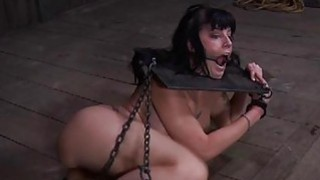 Tough cutie is gagged up and caned zealously Preview Image