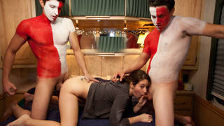 College girl gets her first double penetration on tape Preview Image