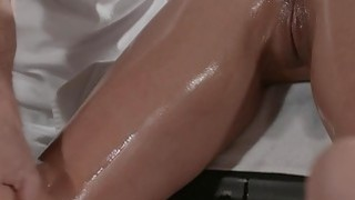 Bent over busty babe banged on massage Preview Image