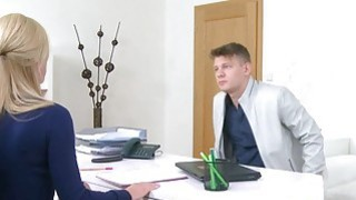 Handsome guy licks and fucks female agent Preview Image