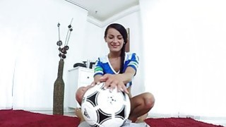 Teen babe football fan rides and fuck a big cock Preview Image