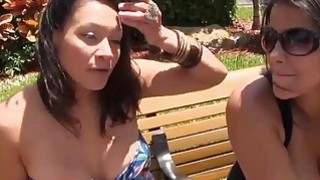 Two women convinced to flash their big boobs for cash Preview Image