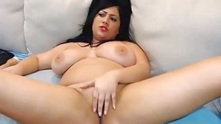 Chubby brunette camgirl with huge natural tits on webcam Preview Image