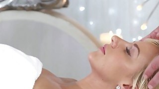 Heavily oiled Czech blonde Nathaly Cherie rides masseurs hard cock Preview Image
