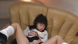 Horny schoolgirl Konomi finger fucks herself on the couch Preview Image
