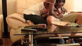 Horny interracial_couple spends day having intense sex in living room Preview Image