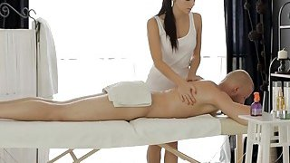 Skinny brunette teen_masseuse pounded on massage table Preview Image