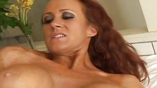 Busty redhead MILF masturbates with a dildo before stud fucks her pussy and butt Preview Image