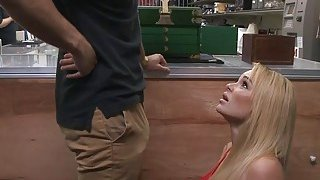 Big tits blonde woman railed by pawn man in his office Preview Image