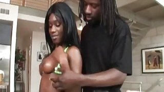 Curvy chocolate babe gets pussy pummeled by black rod Preview Image