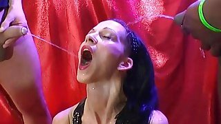 A nasty brunette bitch drinks_a lot of piss and gets her_pussy fucked Preview Image
