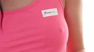Slim brunette teen gangbanged at gym Preview Image