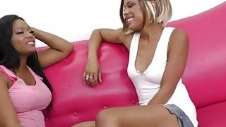 Ebony lesbians uses tongues and toy for pleasure Preview Image