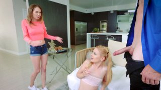 Angel Smalls and Kennedy Kressler suck cock and lick balls Preview Image