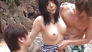 Subtitles uncensored JAV threesome at the beach Preview Image