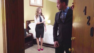 Stewardess Lena_Paul undresses in front of lucky passenger Preview Image