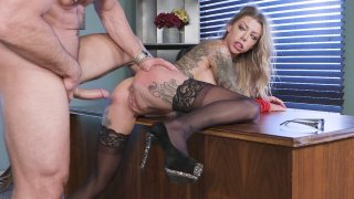 Karma Rx in stockings and high heels gets fucked on the desk Preview Image