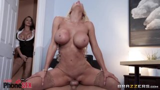 Voluptuous blondie shakes her curves on the boss'cock Preview Image