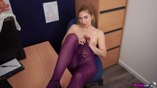 Cute secretary takes her clothes off and teases in office Preview Image