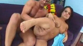 Two midgets take turns riding bold stud's big hard cock Preview Image