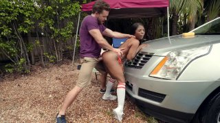 Sarah Banks leaned on the car and got fucked from behind Preview Image