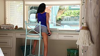 Brunette seduced by a hung pool boy Preview Image