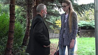 White lingerie blonde blows a grandpa Preview Image