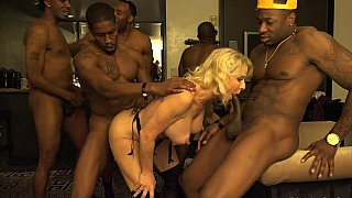 GILF enjoys an_interracial gang-bang Preview Image