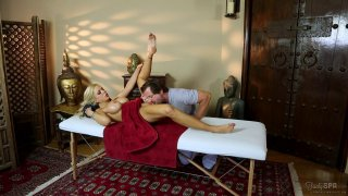 Big breasted MILF gets fucked and jizzed on massage table Preview Image