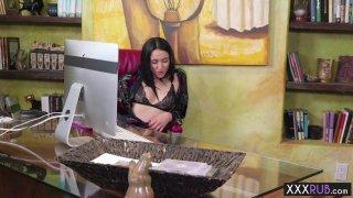 Hot brunette MILF massage sucks and rides clients cock Preview Image