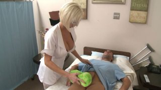 Horny nurse gets instructions to wash the cock so she sucks it with her mouth Preview Image