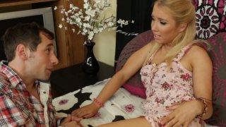Frisky blonde lady Nicki Blue gives deepthroat blowjob Preview Image