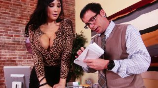Slutty brunette MILF Diana Prince blows nerd's small cock Preview Image