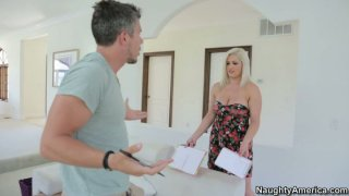 Pale skin slut Dayna Vendetta gives a head and rubs the cock between her twins Preview Image