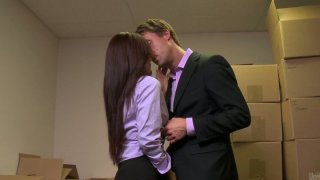 Horny slut Kaylani Lei_locks the guy in a storage room and gives him a head Preview Image