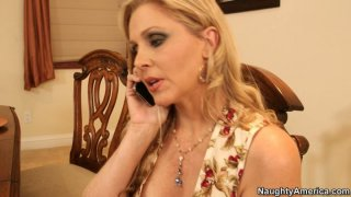 Chubby blonde cougar Julia Ann gets her pussy licked on the table Preview Image