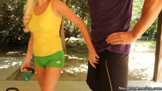 Horny teen chick Elaina Raye gives a head to her personal trainer Preview Image