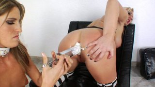 Kinky and dirty Skyler Price gets her asshole filled up with cream and licked by Kara Price Preview Image