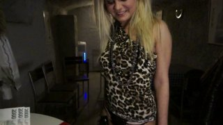 Chubby blonde party slut Barra Brass works on dick with her mouth Preview Image