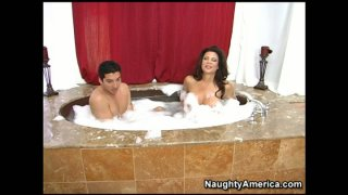 Kinky black haired housewife Teri Weigel takes a hot bath with a plumber Preview Image