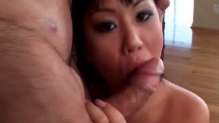 Tremendous brunette asian bitch Avena Lee blows and rides on top Preview Image
