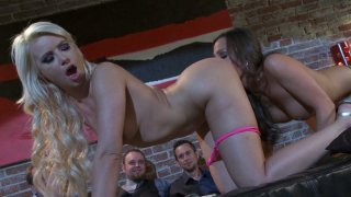 Lesbo hoochies Anikka Albrite and Abigail Mac licking pussies on public Preview Image