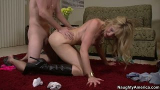 Sexy cougar Desiree Dalton in high heel boots fucks doggy style Preview Image